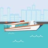 Modernt hastighetsfartyg i floden med byggnader stock illustrationer