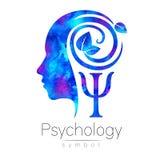 Modernt head logotecken av psykologi Profilmänniska green leaves Bokstav PSI Symbol in Inskriften av rött färgar lokaliserat över vektor illustrationer