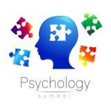 Modernt head logotecken av psykologi Pussel Profilmänniska Idérik stil Symbol i vektor Inskriften av rött färgar lokaliserat över Royaltyfri Bild