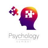 Modernt head tecken av psykologi Pussel Profilmänniska Idérik stil Symbol i vektor Inskriften av rött färgar lokaliserat över tex Royaltyfria Foton