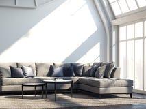 Modernt hemtrevligt rum med den gråa soffan och den mörka tabellen framförande 3d vektor illustrationer