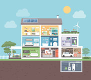 Modernt hus med rum stock illustrationer