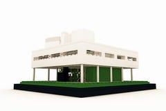 Modernt hus som göras av plast- tegelstenar Arkivfoto