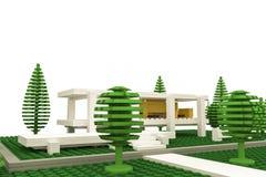Modernt hus som göras av plast- tegelstenar Royaltyfri Foto
