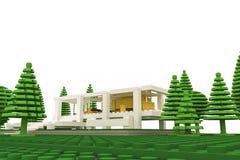 Modernt hus som göras av plast- tegelstenar Arkivfoton