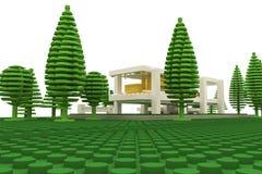 Modernt hus som göras med plast- tegelstenar Arkivfoto
