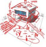 Modernt husrevideringsdiagram Arkivfoto
