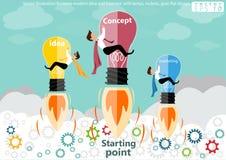Modernt idé och begrepp för vektorillustrationaffär med lampor raket, kugghjul, lägenhetdesign royaltyfri illustrationer