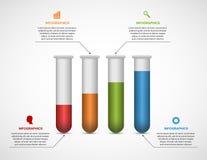 Modernt infographic på vetenskap och medicin i form av provrör stock illustrationer