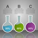 Modernt infographic på vetenskap och medicin i form av provrör bakgrundsdesignelement fyra vita snowflakes royaltyfri illustrationer