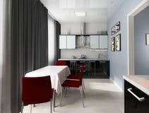 modernt inhemskt kök Fotografering för Bildbyråer