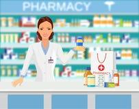 Modernt inre apotek eller apotek stock illustrationer