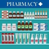 Modernt inre apotek Medicinpreventivpillerar, kapslar, Arkivfoton