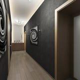 Modernt inre hall med dörrar royaltyfria foton