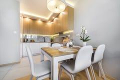 modernt inre kök för design royaltyfria bilder