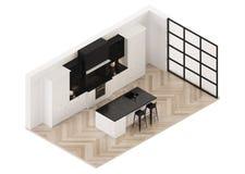 modernt inre kök klassiskt modernt Ortogonal projektion ovanför sikt arkivbild