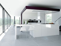 modernt inre kök Inskriften av rött färgar lokaliserat över text av vit färgar 3d Royaltyfri Foto