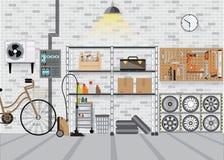 Modernt inre lagringsrum med metallhyllan royaltyfri illustrationer