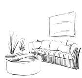 Modernt inre rum skissar Hand drog soffa, blomkruka och bilder Royaltyfria Foton