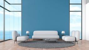 Modernt inre vardagsrumträgolv med den gråa mallen för sommar för sikt för soffa- och stolfönsterhav för åtlöje upp tolkningen 3d vektor illustrationer