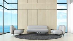 Modernt inre vardagsrumträgolv med den gråa mallen för sommar för sikt för soffa- och stolfönsterhav för åtlöje upp tolkningen 3d royaltyfri illustrationer