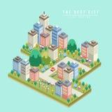 Modernt isometriskt infographic för stad 3d Arkivbild