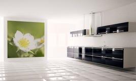 modernt kök 3d Fotografering för Bildbyråer