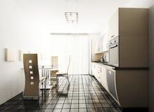 modernt kök 3d framför Arkivbild