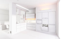 modernt kök för lera 3d framför stock illustrationer