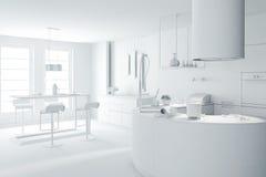 modernt kök för lera 3d framför white stock illustrationer