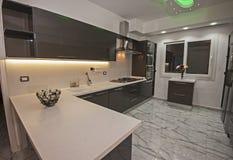 Modernt kök i en lyxig lägenhet royaltyfri bild