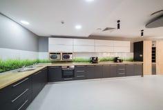 Modernt kök i regeringsställning som bygger Arkivfoto