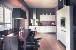 Modernt kök i vardagsrum Arkivfoto