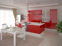 Modernt kök med funktionellt rött möblemang royaltyfri illustrationer