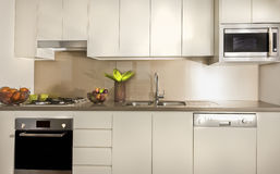 Modernt kök med skafferiskåp och räknareöverkanten arkivbilder