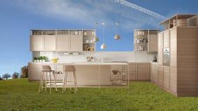 Modernt kök ställer ut, möblemang i utomhus- utrymme, äng för grönt gräs med träd, parkerar, inredesignen i yttre strid royaltyfri fotografi