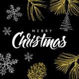 Modernt kalligrafibokstäver och klotter för glad jul på svart bakgrund Arkivfoto