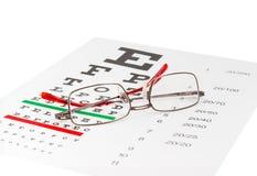 Modernt klassiskt glasögon för man` s på ett ögondiagram arkivbilder