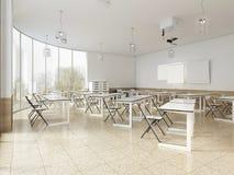 Modernt klassrum med stora panorama- fönster och vita skrivbord, ljus inre stock illustrationer