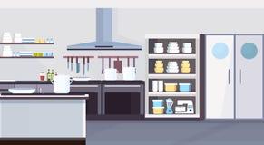 Modernt kommersiellt laga mat för design för restaurangkökinre och det kulinariska begreppet tömmer ingen folkhorisontallägenhet stock illustrationer