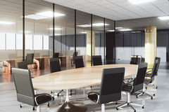 Modernt konferensrum i ett soligt kontor royaltyfri illustrationer