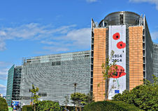 Modernt kontor av Europeiska kommissionen i Bryssel Arkivfoto