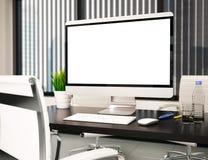 modernt kontor 3D med den tomma datorskärmen Modell vektor illustrationer