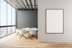 Modernt kontor med banret stock illustrationer