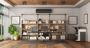 Modernt kontor med bokhyllan och skrivbordet vektor illustrationer