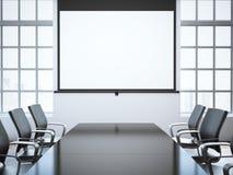 Modernt kontorsrum med projektorskärmen framförande 3d Arkivfoto