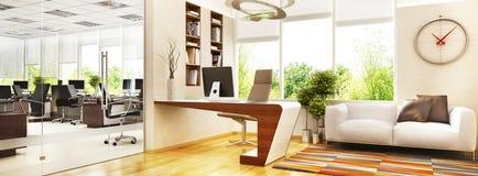 Modernt kontorsutrymme med en chefs rum och ett stort ?ppet utrymme f?r arbetare stock illustrationer