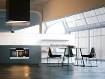 Modernt ljust kök med stora fönster framförande 3d vektor illustrationer