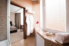 Modernt lyxigt badrum med det duschkabinen och fönstret tolkning 3D av ett kontorsutrymme Royaltyfri Fotografi