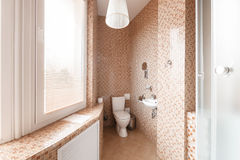 Modernt lyxigt badrum med det duschkabinen och fönstret tolkning 3D av ett kontorsutrymme Arkivbilder